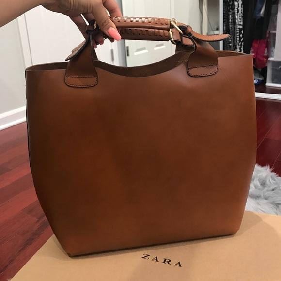 1c26d064017 RARE Zara Plaited Leather Shopper Tote
